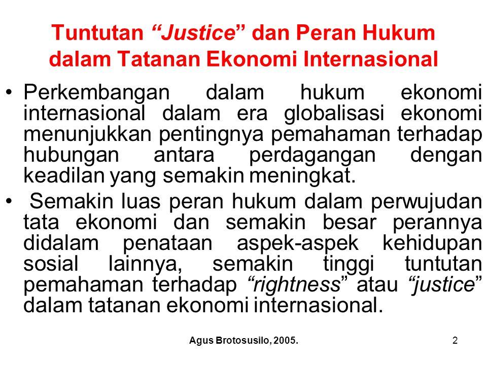 """Tuntutan """"Justice"""" dan Peran Hukum dalam Tatanan Ekonomi Internasional Perkembangan dalam hukum ekonomi internasional dalam era globalisasi ekonomi me"""
