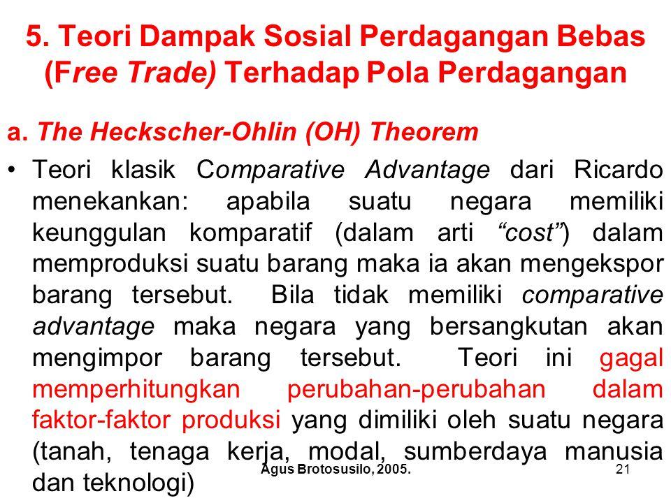 Agus Brotosusilo, 2005.22 The Heckscher-Ohlin (OH) Theorem Pada tahun 1930 teori Ricardo disempurnakan melalui the Heckscher-Ohlin (OH) Theorem .