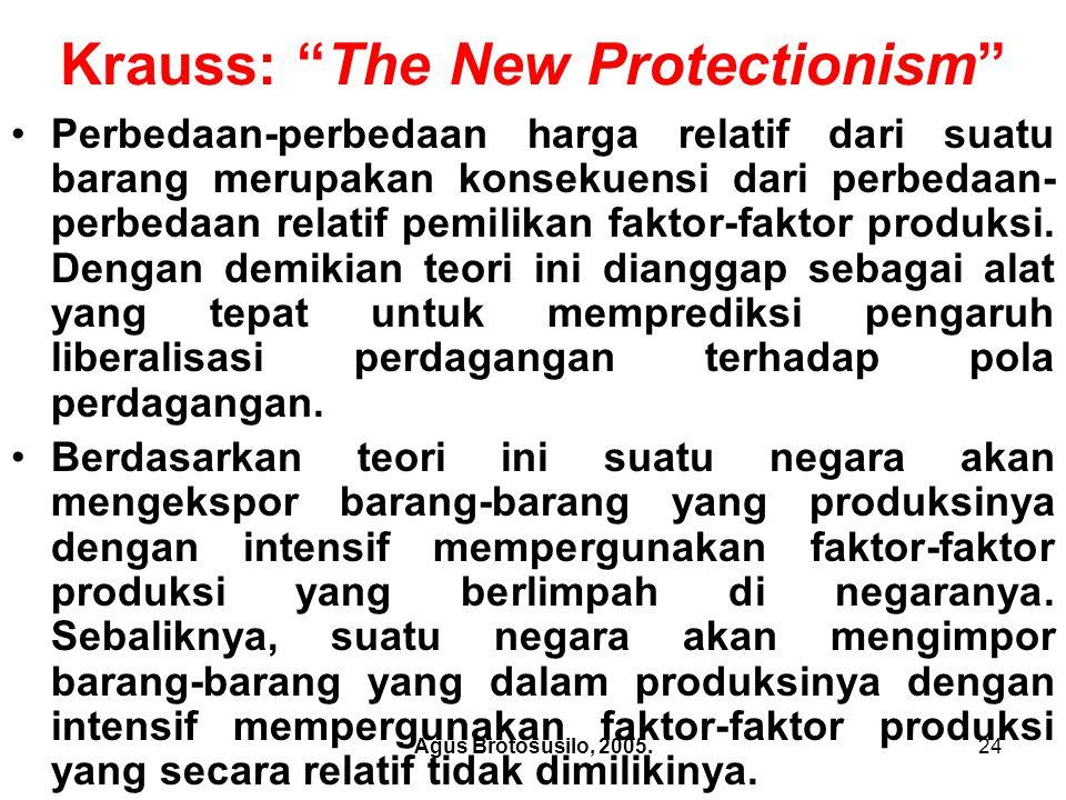 Agus Brotosusilo, 2005.25 Krauss: The New Protectionism Dalam bukunya yang berjudul The New Protectionism (1978, p.