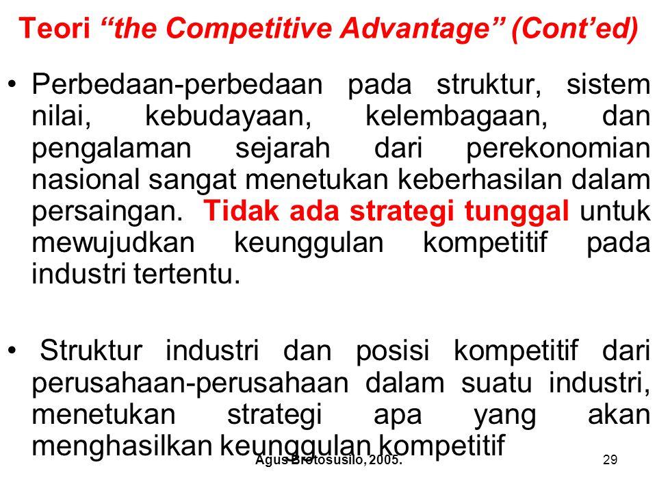 Agus Brotosusilo, 2005.30 Teori the Competitive Advantage Porter juga berpendapat bahwa prinsip-prinsip dasar strategi persaingan berlaku bagi perusahaan baik dalam persaingan domestik maupun internasional.