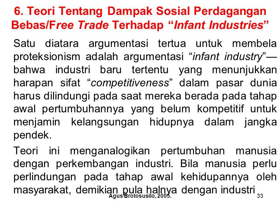 Agus Brotosusilo, 2005.34 Teori Tentang Dampak Sosial Perdagangan Bebas/Free Trade Terhadap Infant Industries Tidak dapat dipungkiri bahwa sebagaimana halnya nasib manusia, sebagian dari industri yang diproteksi ini tidak pernah tumbuh dewasa.