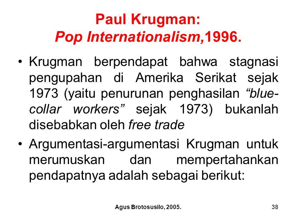 Agus Brotosusilo, 2005.39 Paul Krugman: Pop Internationalism,1996.