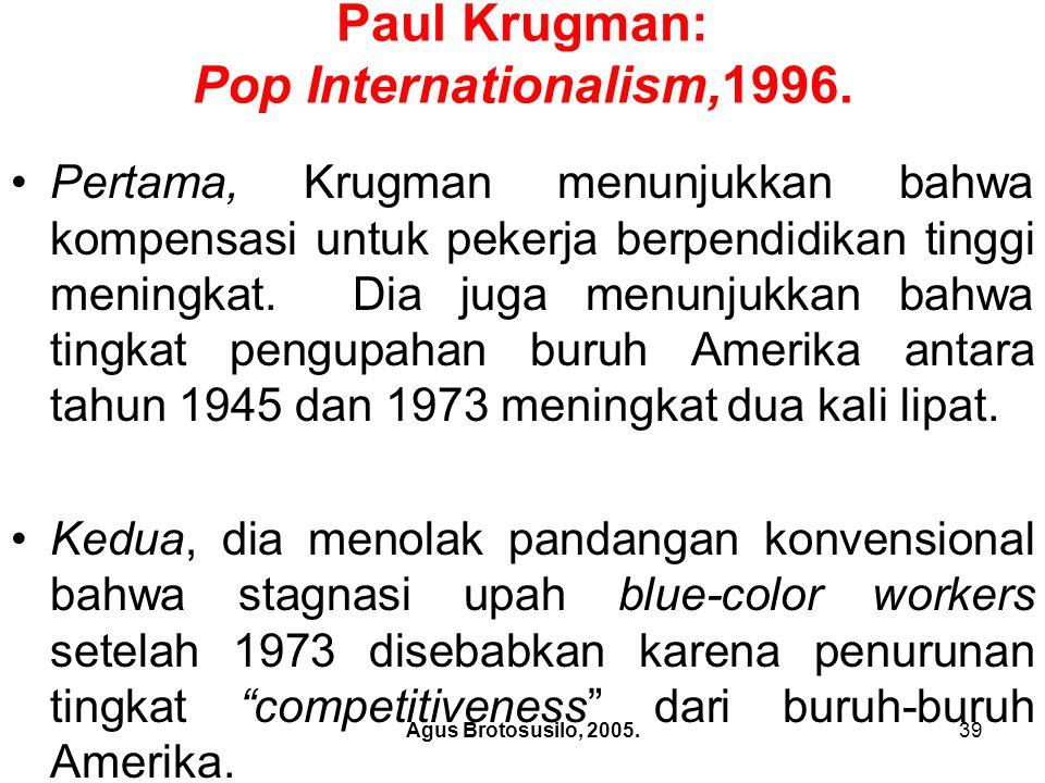 Agus Brotosusilo, 2005.40 Paul Krugman: Pop Internationalism,1996.