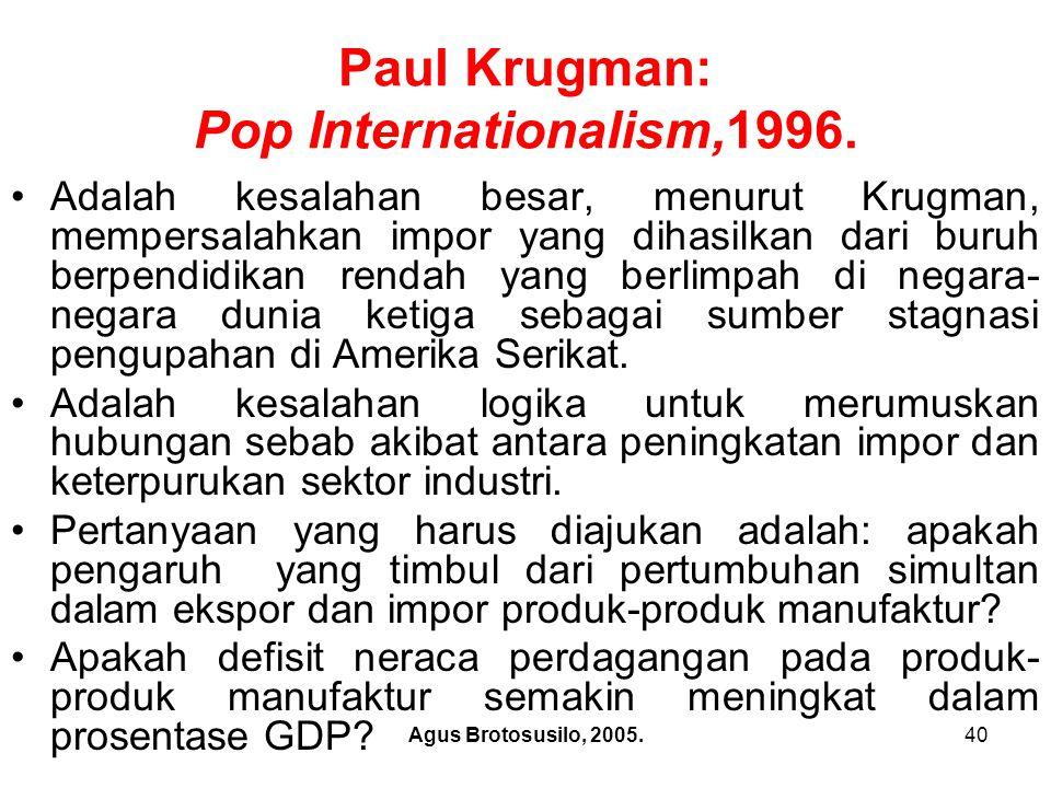 Agus Brotosusilo, 2005.41 Paul Krugman: Pop Internationalism,1996.