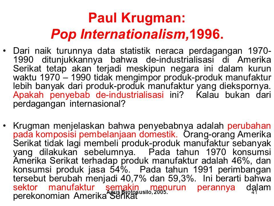 Agus Brotosusilo, 2005.42 Paul Krugman: Pop Internationalism,1996.
