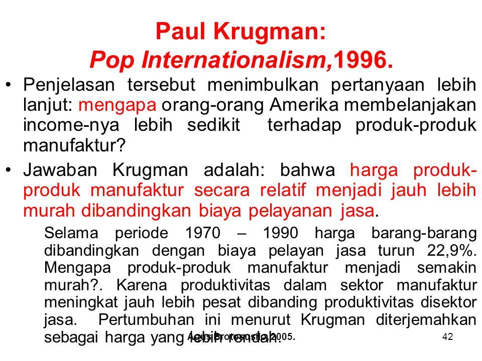 Agus Brotosusilo, 2005.43 Paul Krugman: Pop Internationalism,1996.