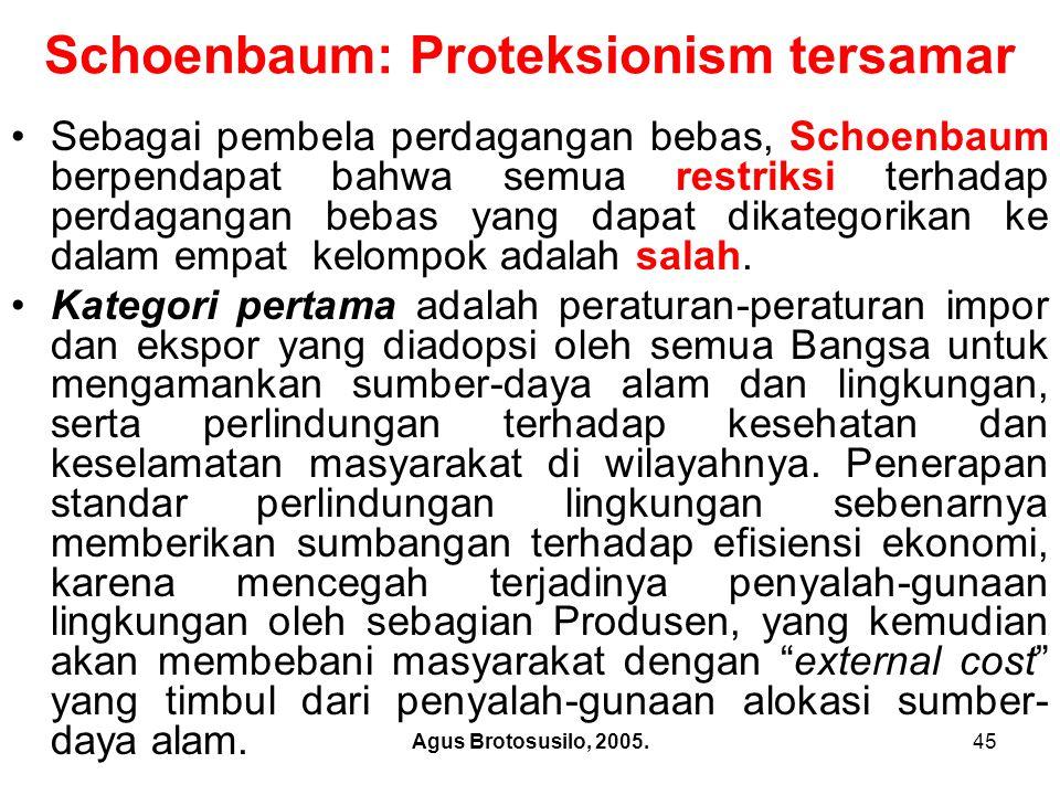 Agus Brotosusilo, 2005.46 Schoenbaum: Proteksionism tersamar Schoenbaum berpendapat bahwa akhir-akhir ini penerapan standar lingkungan dan keamanan telah memicu kontroversi internasional.