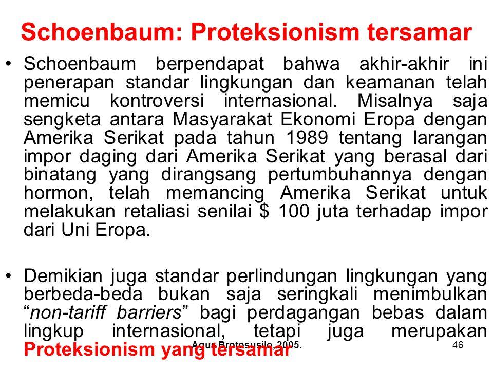 Agus Brotosusilo, 2005.47 Schoenbaum: Proteksionism tersamar Kategori kedua restriksi perdagangan adalah semakin meningkatnya penggunaan kebijakan sebagai alat untuk penerapan standar perlindungan lingkungan dalam persetujuan-persetujuan internasional.
