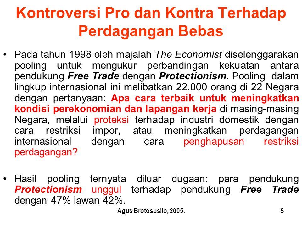 Agus Brotosusilo, 2005.6 Pro dan Kontra thd.