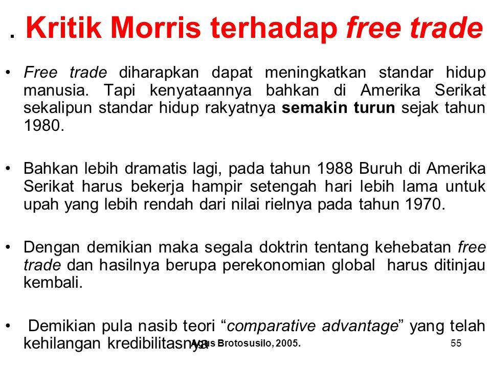 Agus Brotosusilo, 2005.56 Kritik Morris terhadap free trade.