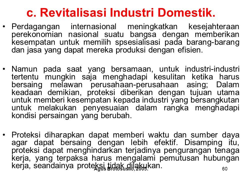 Agus Brotosusilo, 2005.61 c.Revitalisasi Industri Domestik.