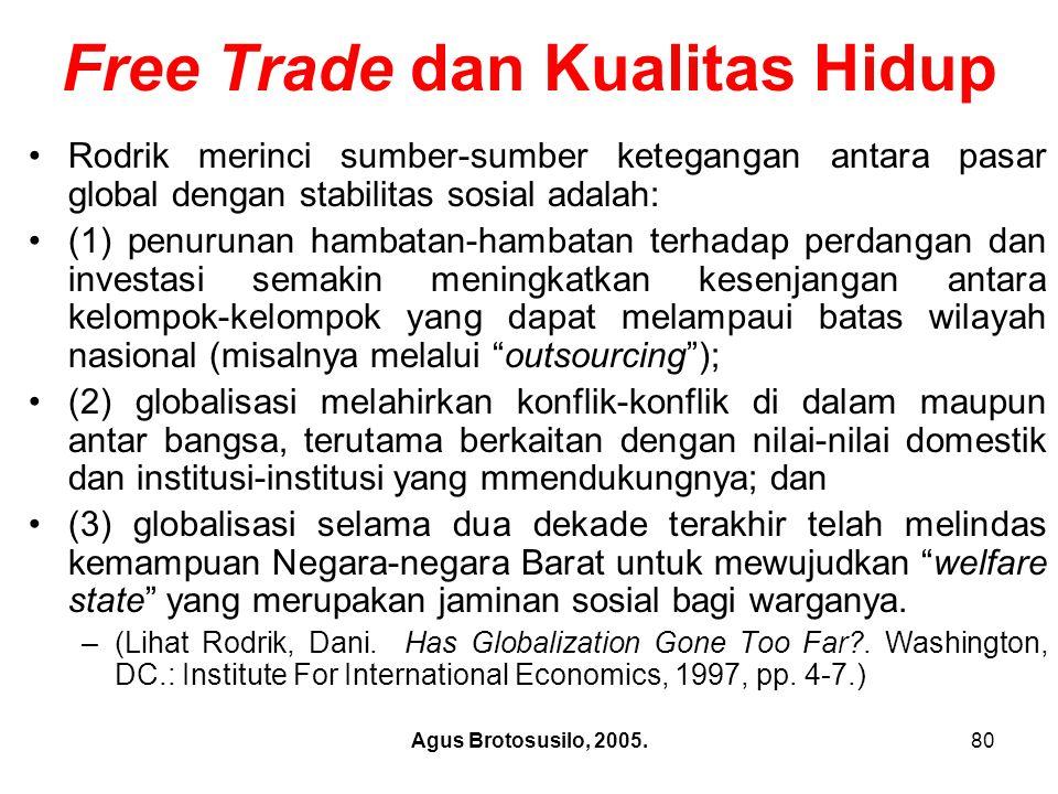 Agus Brotosusilo, 2005.81 2.Free Trade dan Kualitas Hidup b).