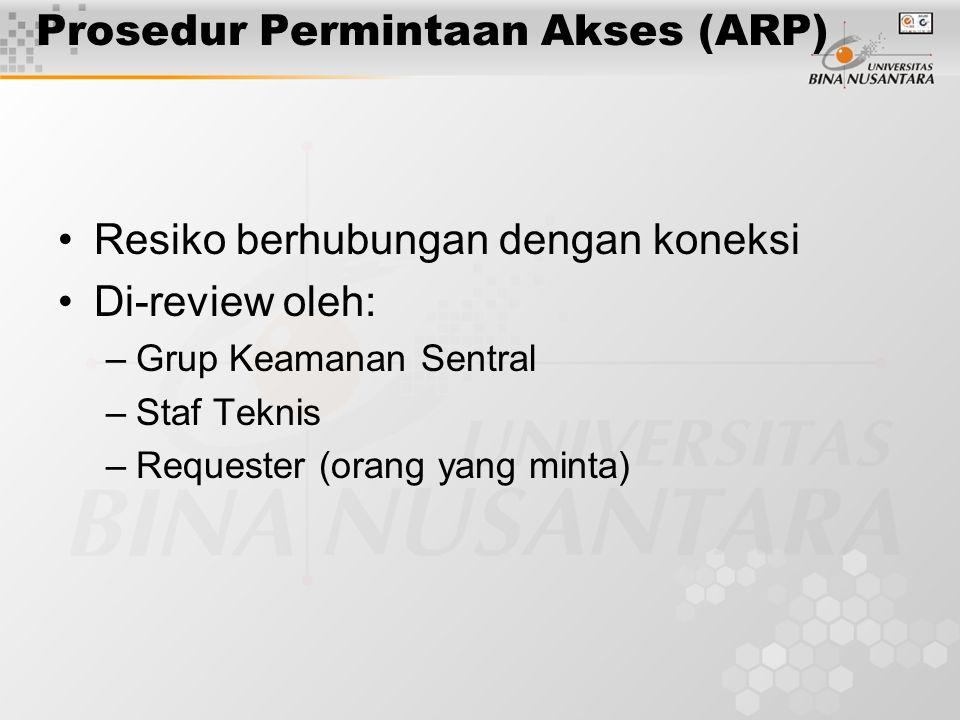 Prosedur Permintaan Akses (ARP) Resiko berhubungan dengan koneksi Di-review oleh: –Grup Keamanan Sentral –Staf Teknis –Requester (orang yang minta)