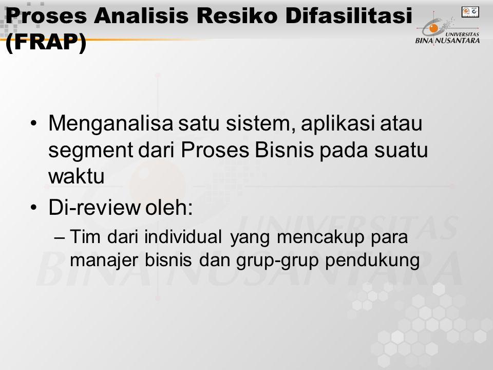 Proses Analisis Resiko Difasilitasi (FRAP) Menganalisa satu sistem, aplikasi atau segment dari Proses Bisnis pada suatu waktu Di-review oleh: –Tim dar