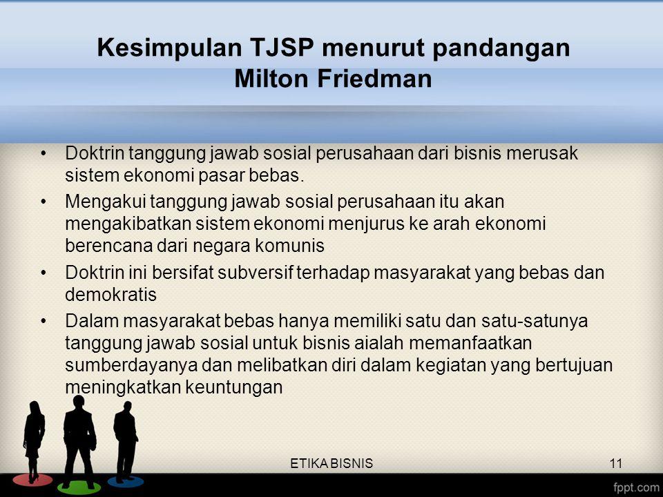 Kesimpulan TJSP menurut pandangan Milton Friedman Doktrin tanggung jawab sosial perusahaan dari bisnis merusak sistem ekonomi pasar bebas. Mengakui ta