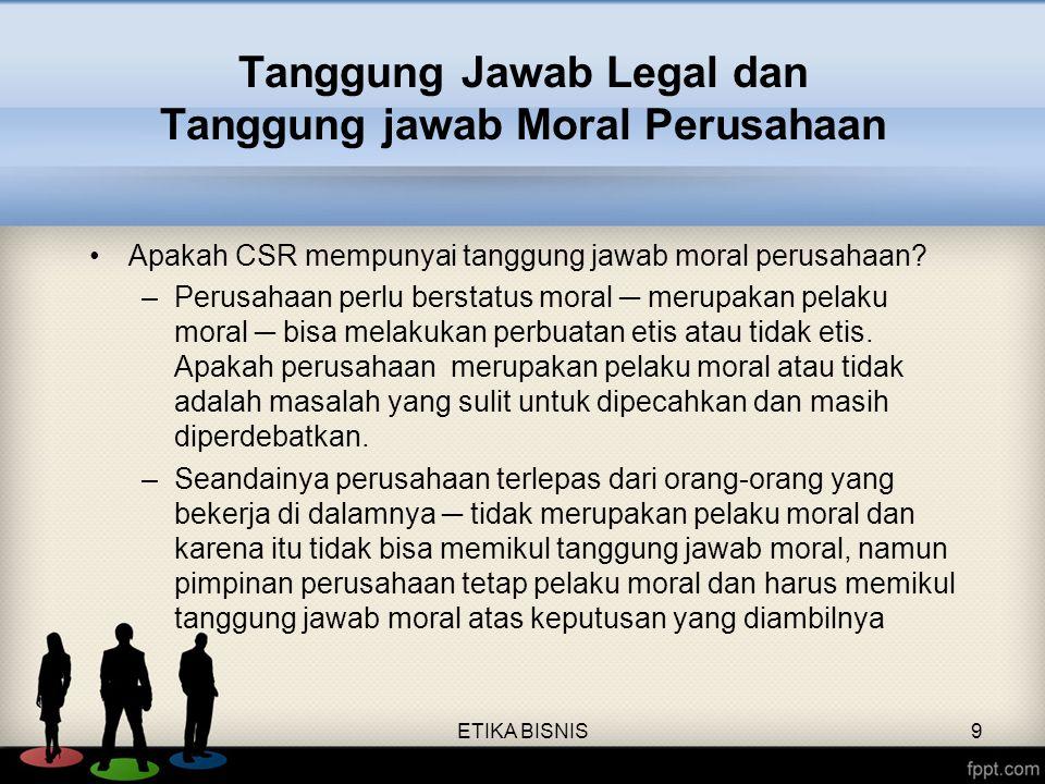 Tanggung Jawab Legal dan Tanggung jawab Moral Perusahaan Apakah CSR mempunyai tanggung jawab moral perusahaan? –Perusahaan perlu berstatus moral ─ mer