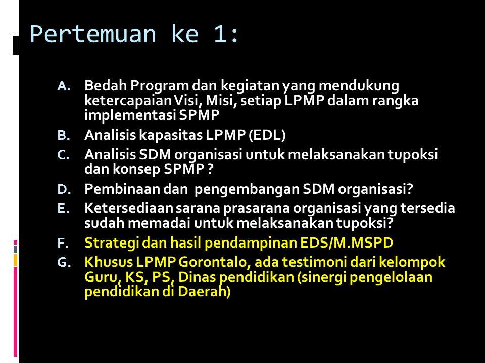 Pertemuan ke 1: A. Bedah Program dan kegiatan yang mendukung ketercapaian Visi, Misi, setiap LPMP dalam rangka implementasi SPMP B. Analisis kapasitas