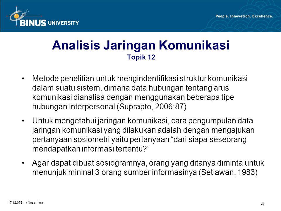 17.12.07Bina Nusantara 5 Analisis Jaringan Komunikasi Topik 12 Pertanyaan sosiometri ini dilakukan dengan sistem sensus (semua anggota populasi diberi pertanyaan).