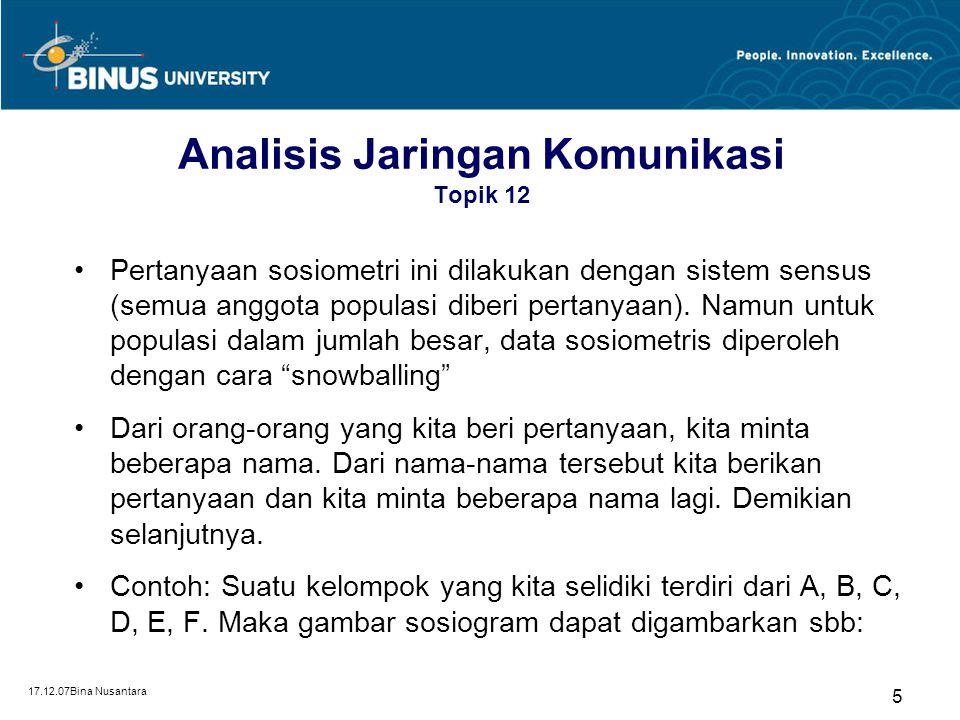 17.12.07Bina Nusantara 6 Sosiogram Topik 12 Sosiogram = skema analisis yang digunakan untuk meneliti hubungan- hubungan komunikasi yang komplek (Suprapto, 2006:96)