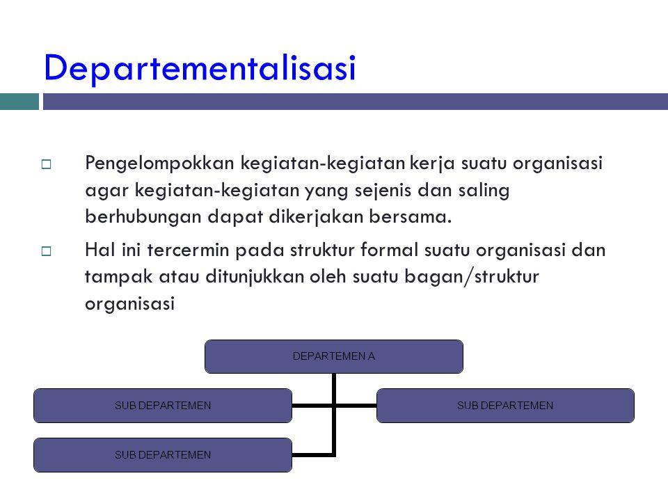 Departementalisasi  Pengelompokkan kegiatan-kegiatan kerja suatu organisasi agar kegiatan-kegiatan yang sejenis dan saling berhubungan dapat dikerjak