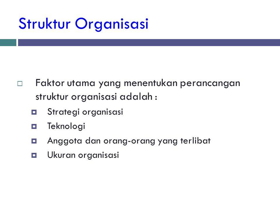 Struktur Organisasi  Faktor utama yang menentukan perancangan struktur organisasi adalah :  Strategi organisasi  Teknologi  Anggota dan orang-oran