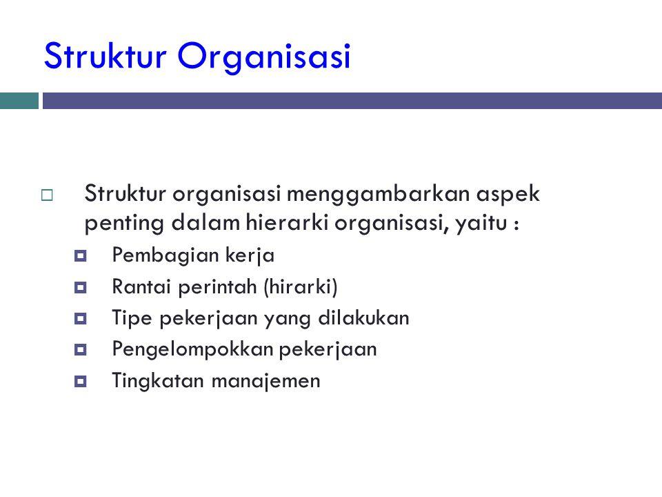 Struktur Organisasi  Struktur organisasi menggambarkan aspek penting dalam hierarki organisasi, yaitu :  Pembagian kerja  Rantai perintah (hirarki)