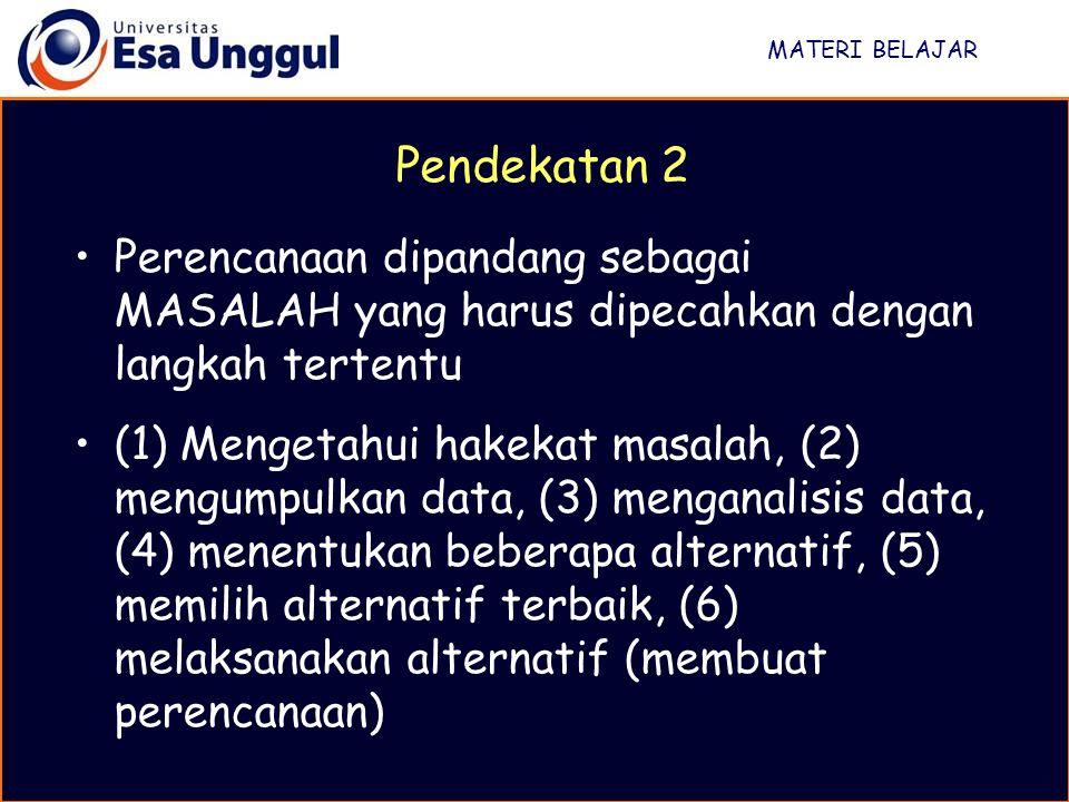 MATERI BELAJAR Perencanaan dipandang sebagai MASALAH yang harus dipecahkan dengan langkah tertentu (1) Mengetahui hakekat masalah, (2) mengumpulkan da