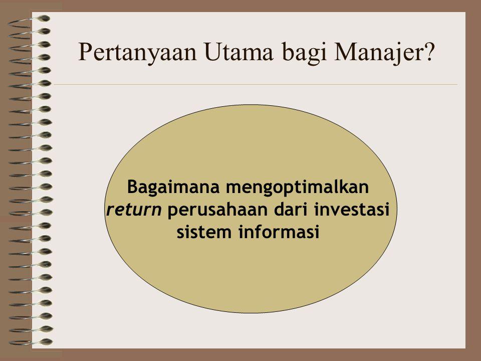 Pertanyaan Utama bagi Manajer? Bagaimana mengoptimalkan return perusahaan dari investasi sistem informasi