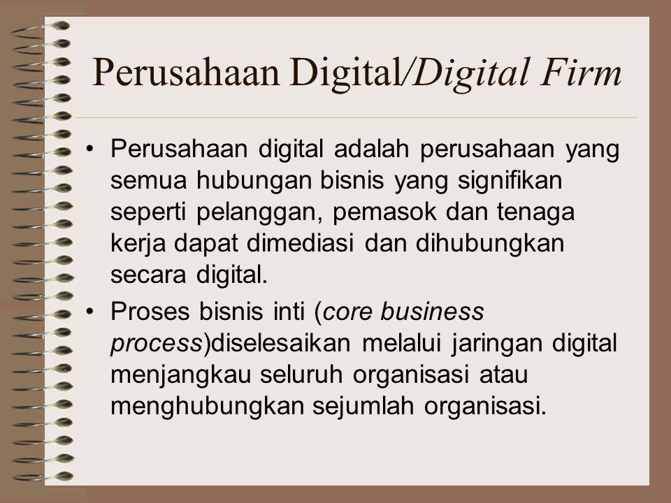 Perusahaan Digital/Digital Firm Perusahaan digital adalah perusahaan yang semua hubungan bisnis yang signifikan seperti pelanggan, pemasok dan tenaga kerja dapat dimediasi dan dihubungkan secara digital.