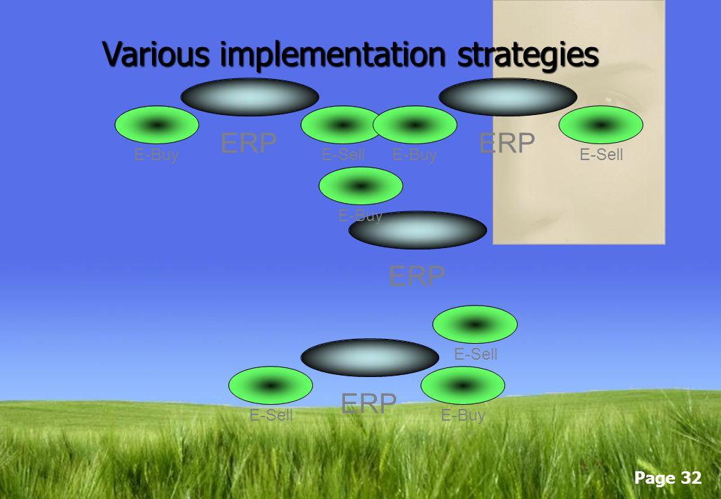 Page 31 ERP E-SellE-Buy ERP E-SellE-Buy ERP E-SellE-Buy Various implementation strategies