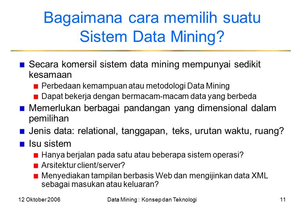12 Oktober 2006Data Mining : Konsep dan Teknologi11 Bagaimana cara memilih suatu Sistem Data Mining.