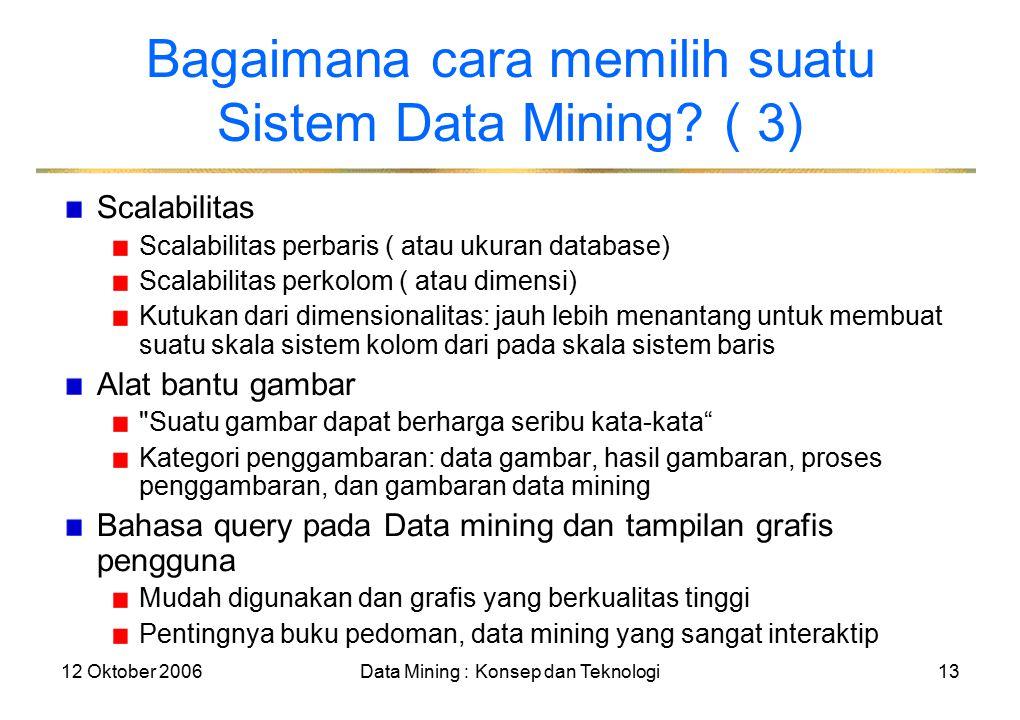 12 Oktober 2006Data Mining : Konsep dan Teknologi13 Bagaimana cara memilih suatu Sistem Data Mining.