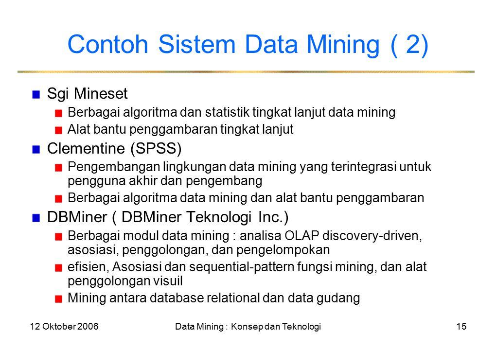 12 Oktober 2006Data Mining : Konsep dan Teknologi15 Contoh Sistem Data Mining ( 2) Sgi Mineset Berbagai algoritma dan statistik tingkat lanjut data mining Alat bantu penggambaran tingkat lanjut Clementine (SPSS) Pengembangan lingkungan data mining yang terintegrasi untuk pengguna akhir dan pengembang Berbagai algoritma data mining dan alat bantu penggambaran DBMiner ( DBMiner Teknologi Inc.) Berbagai modul data mining : analisa OLAP discovery-driven, asosiasi, penggolongan, dan pengelompokan efisien, Asosiasi dan sequential-pattern fungsi mining, dan alat penggolongan visuil Mining antara database relational dan data gudang