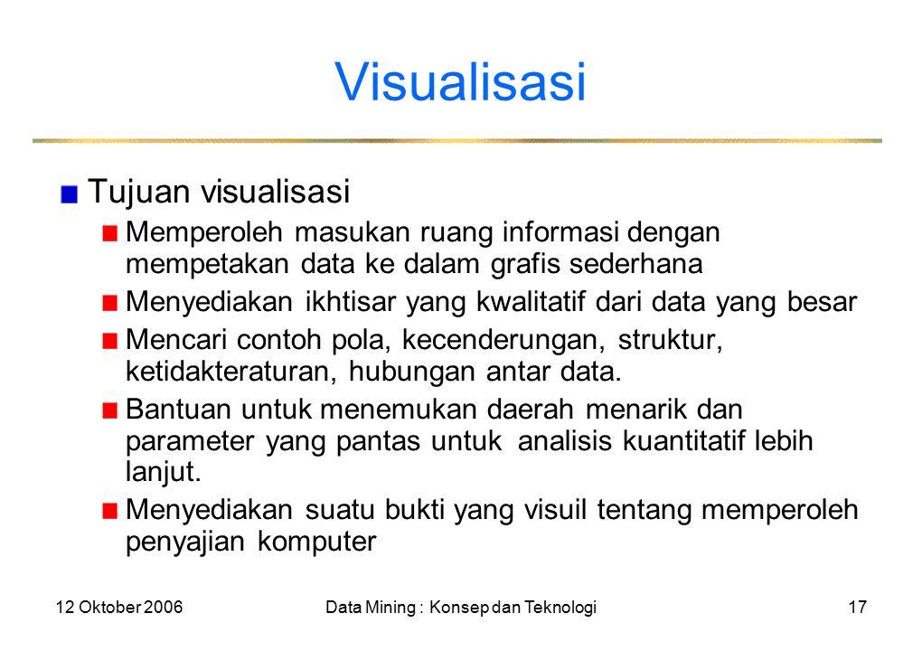 12 Oktober 2006Data Mining : Konsep dan Teknologi17 Visualisasi Tujuan visualisasi Memperoleh masukan ruang informasi dengan mempetakan data ke dalam grafis sederhana Menyediakan ikhtisar yang kwalitatif dari data yang besar Mencari contoh pola, kecenderungan, struktur, ketidakteraturan, hubungan antar data.