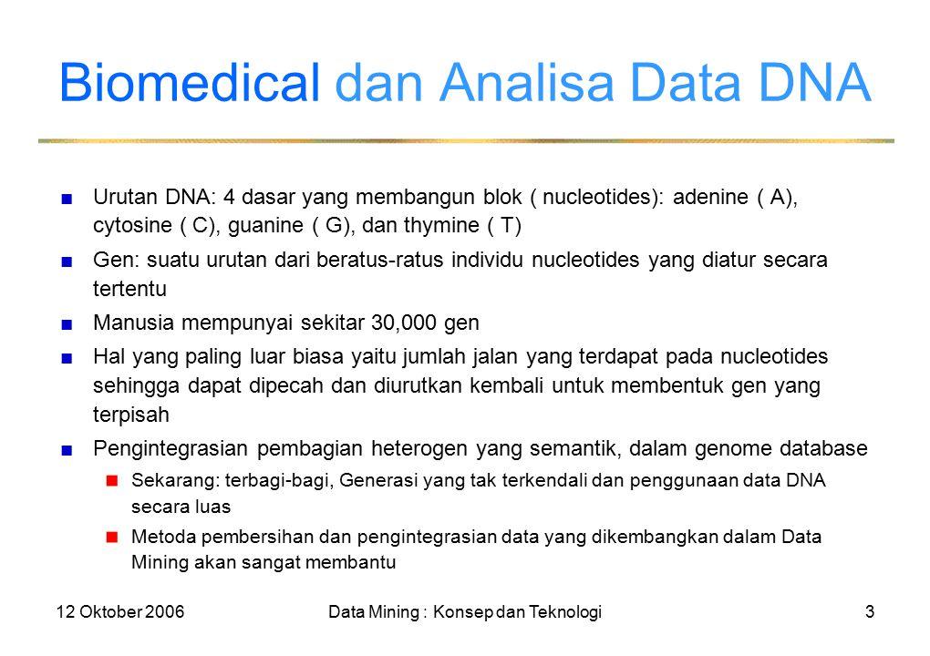 12 Oktober 2006Data Mining : Konsep dan Teknologi3 Biomedical dan Analisa Data DNA ■Urutan DNA: 4 dasar yang membangun blok ( nucleotides): adenine ( A), cytosine ( C), guanine ( G), dan thymine ( T) ■Gen: suatu urutan dari beratus-ratus individu nucleotides yang diatur secara tertentu ■Manusia mempunyai sekitar 30,000 gen ■Hal yang paling luar biasa yaitu jumlah jalan yang terdapat pada nucleotides sehingga dapat dipecah dan diurutkan kembali untuk membentuk gen yang terpisah ■Pengintegrasian pembagian heterogen yang semantik, dalam genome database Sekarang: terbagi-bagi, Generasi yang tak terkendali dan penggunaan data DNA secara luas Metoda pembersihan dan pengintegrasian data yang dikembangkan dalam Data Mining akan sangat membantu