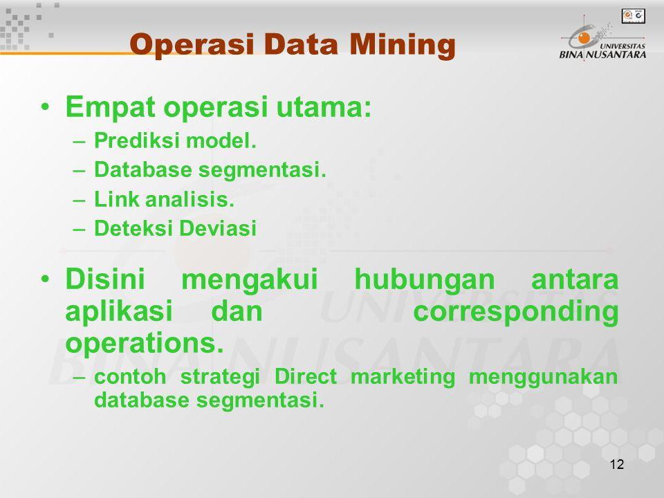 12 Operasi Data Mining Empat operasi utama: –Prediksi model.