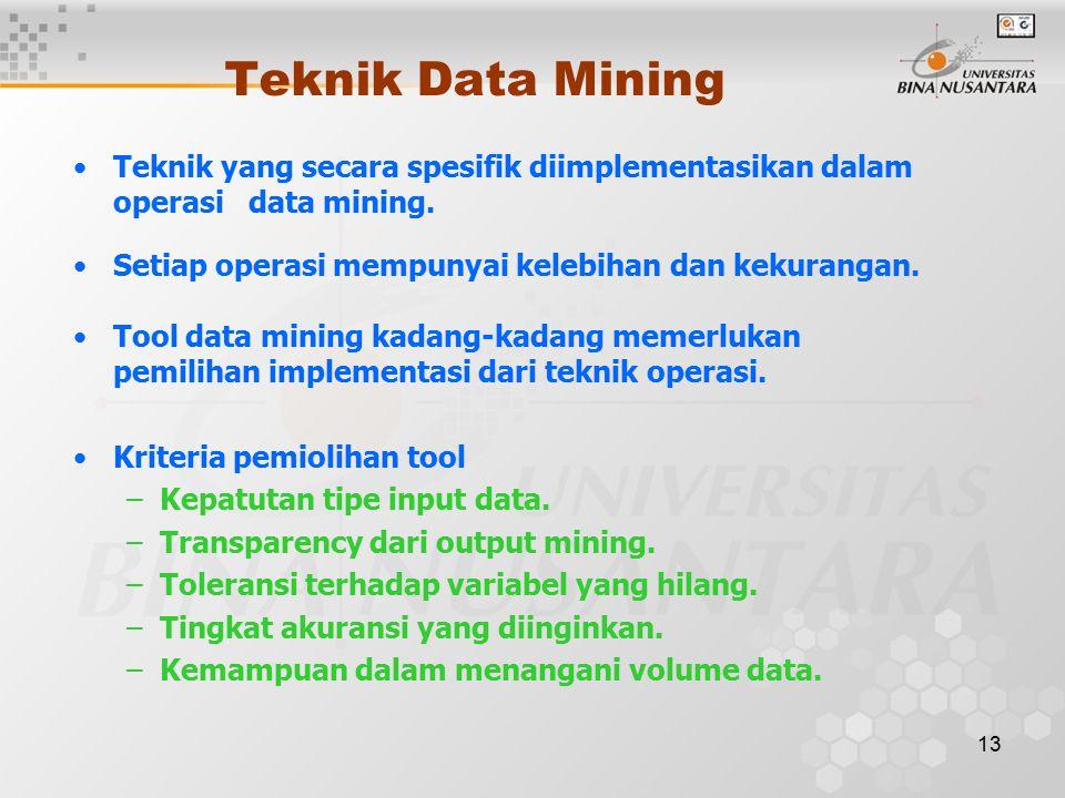 13 Teknik Data Mining Teknik yang secara spesifik diimplementasikan dalam operasi data mining.