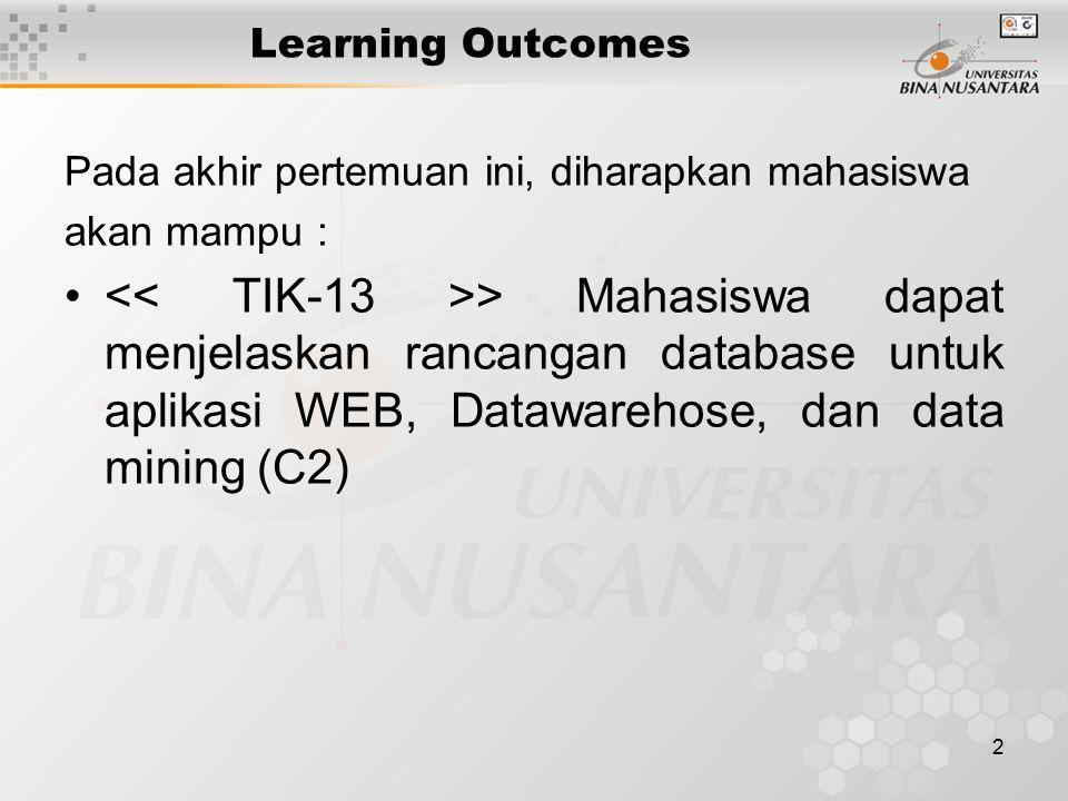 2 Learning Outcomes Pada akhir pertemuan ini, diharapkan mahasiswa akan mampu : > Mahasiswa dapat menjelaskan rancangan database untuk aplikasi WEB, Datawarehose, dan data mining (C2)