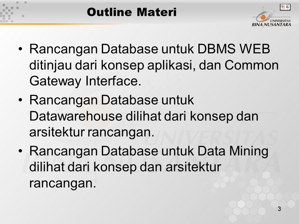 3 Outline Materi Rancangan Database untuk DBMS WEB ditinjau dari konsep aplikasi, dan Common Gateway Interface.