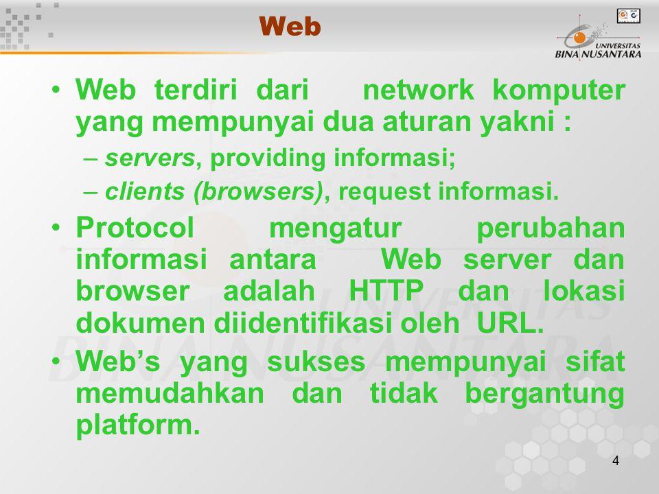 4 Web Web terdiri dari network komputer yang mempunyai dua aturan yakni : –servers, providing informasi; –clients (browsers), request informasi.