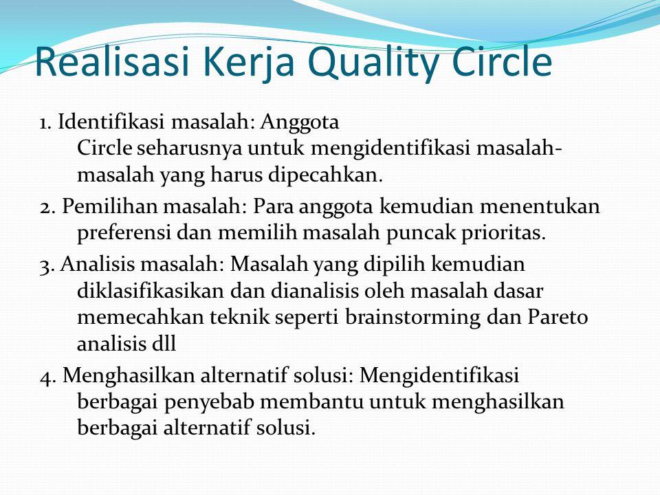 Realisasi Kerja Quality Circle (lanjutan) 5.