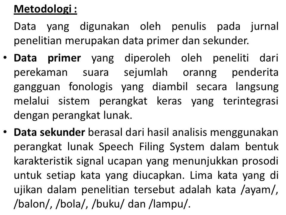 Metodologi : Data yang digunakan oleh penulis pada jurnal penelitian merupakan data primer dan sekunder. Data primer yang diperoleh oleh peneliti dari