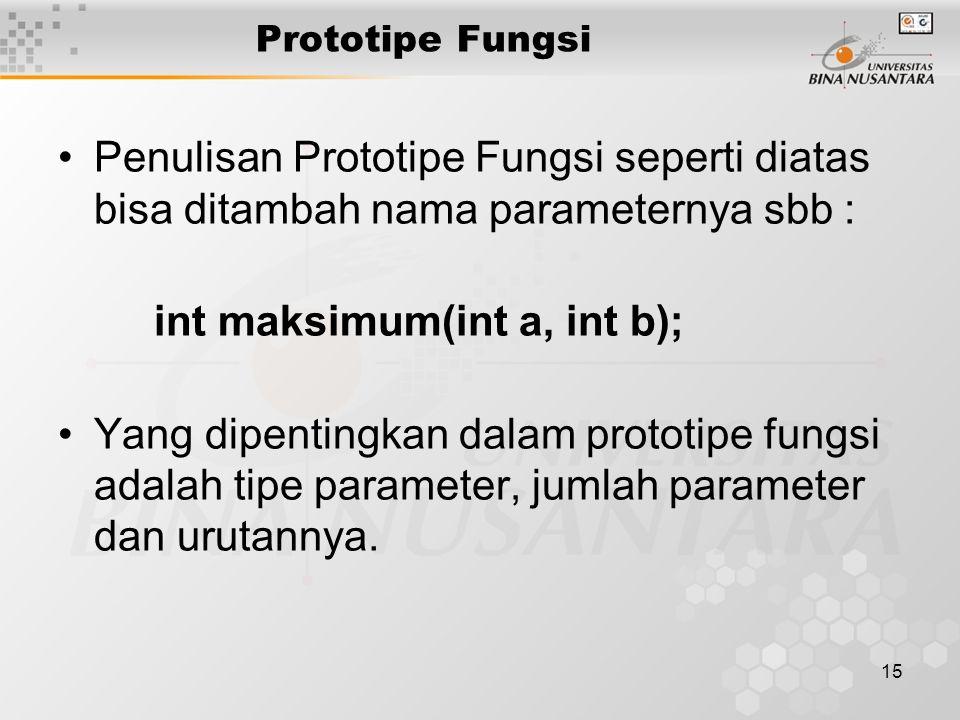 15 Prototipe Fungsi Penulisan Prototipe Fungsi seperti diatas bisa ditambah nama parameternya sbb : int maksimum(int a, int b); Yang dipentingkan dalam prototipe fungsi adalah tipe parameter, jumlah parameter dan urutannya.