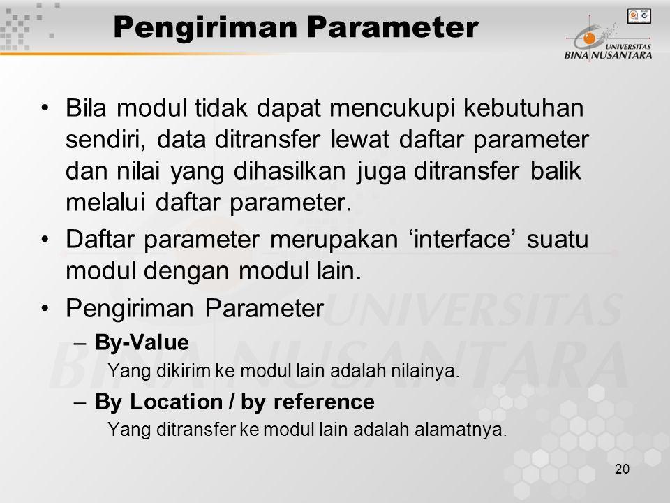 20 Pengiriman Parameter Bila modul tidak dapat mencukupi kebutuhan sendiri, data ditransfer lewat daftar parameter dan nilai yang dihasilkan juga ditransfer balik melalui daftar parameter.