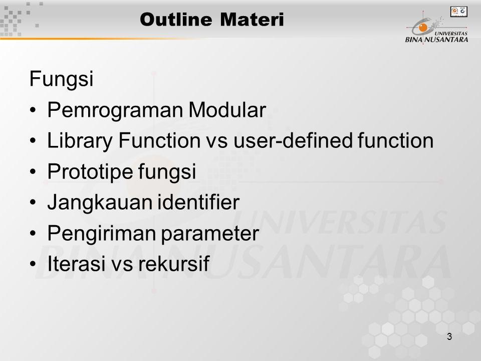 4 Pemrograman Modular Program dibagi-bagi menjadi Modul-Modul Modul dalam bahasa C di-implementasikan dengan Fungsi Fungsi dibentuk dengan mengelompokkan sejumlah perintah untuk menyelesaikan tugas tertentu.