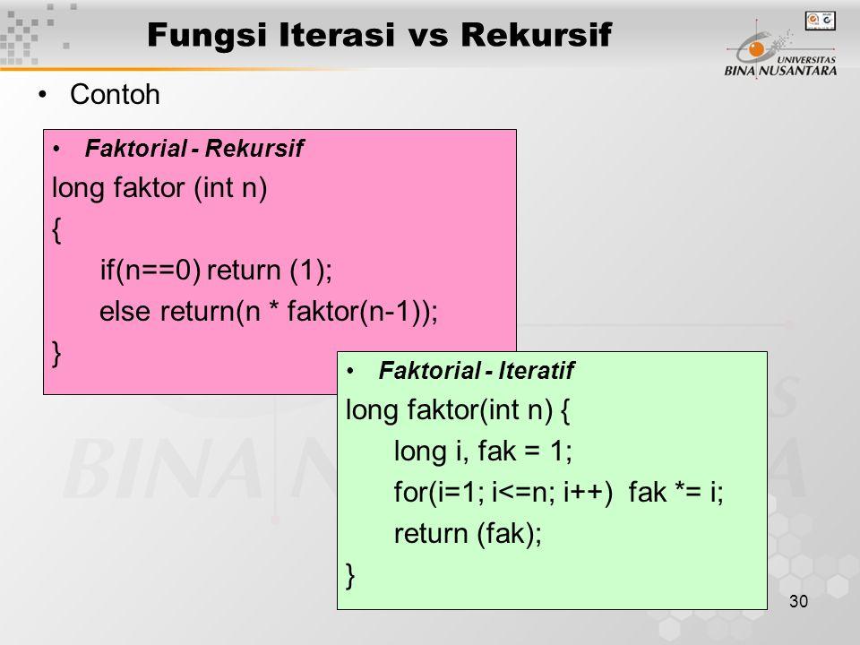 30 Fungsi Iterasi vs Rekursif Contoh Faktorial - Rekursif long faktor (int n) { if(n==0) return (1); else return(n * faktor(n-1)); } Faktorial - Iteratif long faktor(int n) { long i, fak = 1; for(i=1; i<=n; i++) fak *= i; return (fak); }