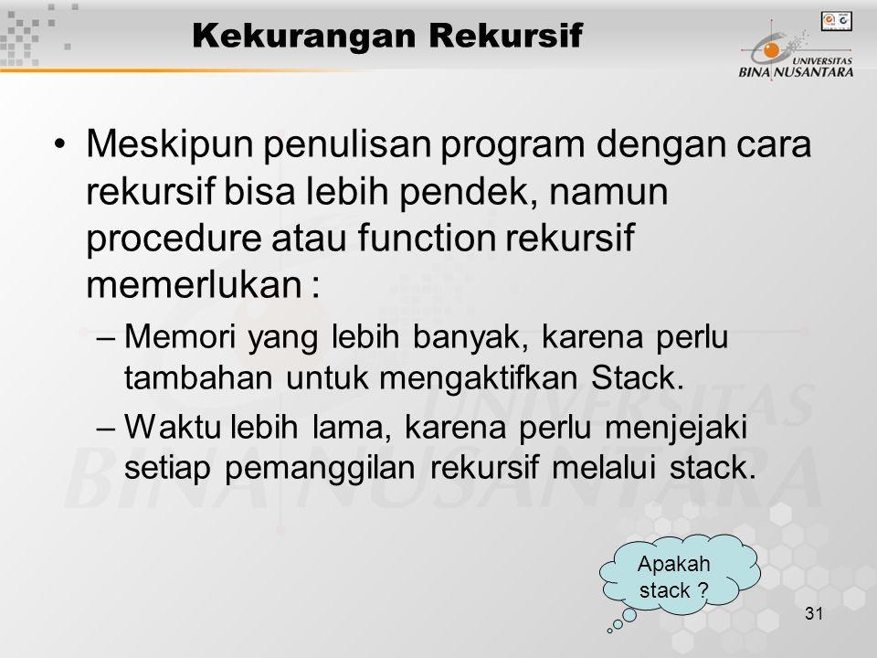 31 Kekurangan Rekursif Meskipun penulisan program dengan cara rekursif bisa lebih pendek, namun procedure atau function rekursif memerlukan : –Memori yang lebih banyak, karena perlu tambahan untuk mengaktifkan Stack.