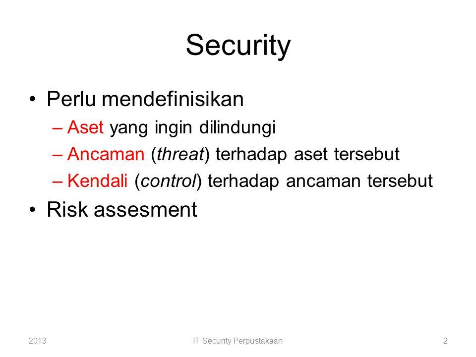 A s e t Kendali Ancaman Serangan Ancaman Serangan 2013IT Security Perpustakaan3