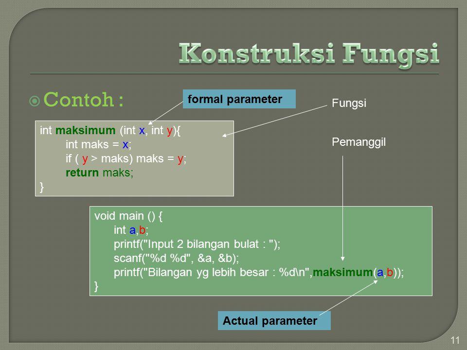 Contoh : 11 int maksimum (int x, int y){ int maks = x; if ( y > maks) maks = y; return maks; } void main () { int a,b; printf( Input 2 bilangan bulat : ); scanf( %d %d , &a, &b); printf( Bilangan yg lebih besar : %d\n ,maksimum(a,b)); } Fungsi Pemanggil Actual parameter formal parameter