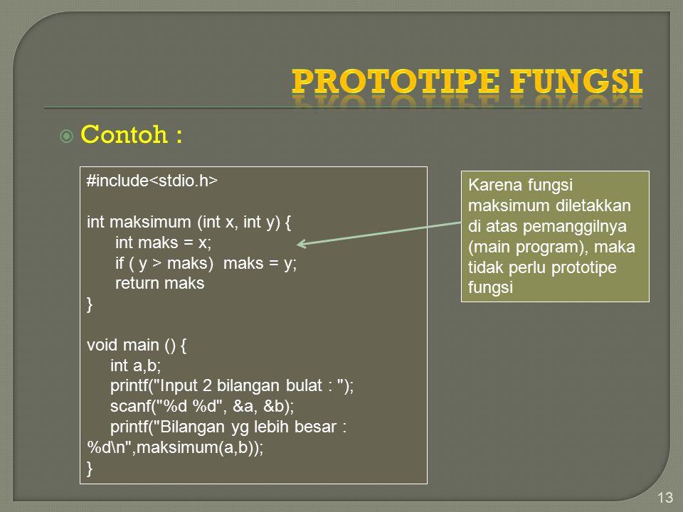  Contoh : 13 #include int maksimum (int x, int y) { int maks = x; if ( y > maks) maks = y; return maks } void main () { int a,b; printf( Input 2 bilangan bulat : ); scanf( %d %d , &a, &b); printf( Bilangan yg lebih besar : %d\n ,maksimum(a,b)); } Karena fungsi maksimum diletakkan di atas pemanggilnya (main program), maka tidak perlu prototipe fungsi